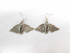NEW FALLEN BIKER IN MEMORY OF ANGEL WINGS MOTORCYCLE WHEEL TIRE PEWTER EARRINGS