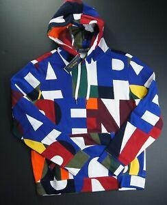 POLO RALPH LAUREN Men's Allover Monogram Logo Fleece Pullover Hoodie NEW NWT