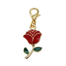 12pcs Necklace Bracelet Jewelry Making Accessories Enamel Rose Dangle Pendant