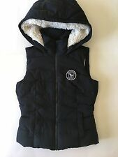 NWT ABERCROMBIE KIDS PUFFER VEST GIRLS MEDIUM SHERPA LINED DARK BLUE HOOD MOOSE