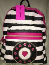Betsey Johnson Backpack tote ivory black pink Large Bag, Girls School Bookbag