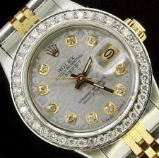 Rolex Ladies Datejust Oyster Stainless Gold Diamond Dial Bezel 69173 Quickset