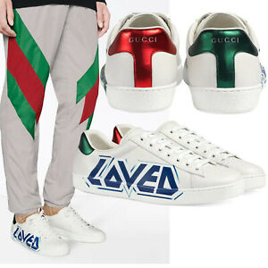 GUCCI SNEAKERS MENS ACE LOVED WHITE LEATHER SHOES $790 sz 10G 10.5