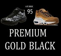 "NIKE AIR MAX 95 PREMIUM ""GOLD"" & ""BLACK"" DURABLE RUNNING SNEAKERS AT9865 538416"