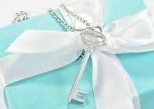 """Tiffany & Co de Plata 2"""" Ovalado Llave Colgante Charm 16"""" Grueso Cadena"""