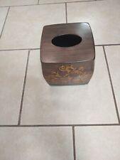 Boutique Tissue Box Cover Brown Copper Gold Square Cube Tissue Box Holder