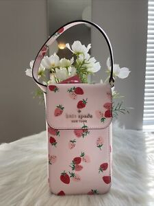 New Kate Spade Staci Wild Strawberries NS Flap Phone Crossbody Bag 👛 Pink Multi