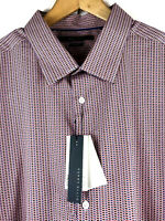 Perry Ellis Mens S/S Button Front Shirt Red Blue Print Stretch Big Tall 2X $79