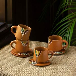 Handpainted Terracotta Coffee Mug and Saucer Cup Plate Set 'Leaf'(Set of 4,160ml