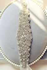 Crystal Beaded ✨Diamante Belt Sash Wedding 💍 Off White Satin Bridal Accessory