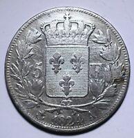1824 A France Five 5 Francs - Louis XVIII bare head - Lot 266