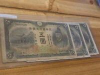Old Japan Banknote 3 Pieces Lot PA29