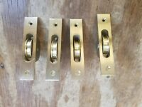 4 NOS Heavy Cast Brass Window Sash Pulleys big  large vintage
