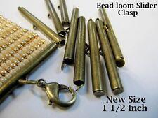End Caps Slider Clasps,1 1/2, Bronze Color, 8 Piece/4 Sets