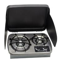 RV Stove 2-Burner Drop-In With Cover Travel Trailer Van Camper Propane Cooking