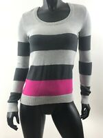 Tommy Hilfiger Women's Pima Cotton Sweater Size S Gray And Pink Stripe