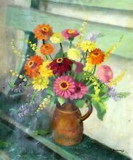 Tableau Ancien Huile Bouquet Fleurs Zinias Paul HAROT 1895-1987 Marseille