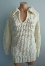 Vintage 1970s Scharade for Katies Chunky Plain Knit Winter White Jumper sz 14