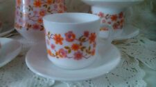 White teacups set with orange floral pattern Arcopal Scania, 2 cups  & saucers