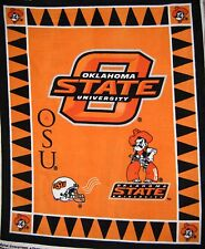 "RARE College Fleece Fabric - NCAA Oklahoma State OSU - Anti-Pill 48""x 60"" Panel"