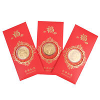 5Coins Type 3 Drawstring Bags Printed with Blessing Playstyle 2021 Ox Year Commemorative Gold Color Plated Coins Gilding Present Souvenir Cattle New Year Gift Lucky Zodiac Gifts 5Bags