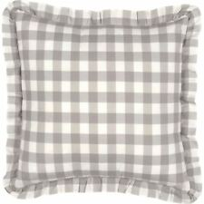 "18"" Country Farmhouse Ruffled Gray & White Pillow Filled Annie Buffalo Check"