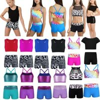 Girls Dance Outfits Two-Pieces Crop Top+Shorts Leotard Sport Gymnastics Workout