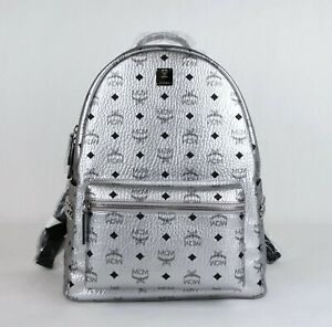$940 MCM Unisex Medium 40 Silver Coated Canvas Studded Backpack MMK9SVE42SB001