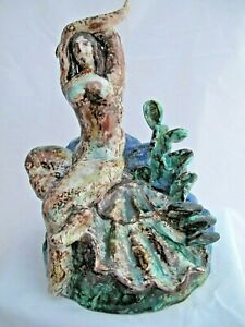 'PRIMAVERA'  MAJOLICA CERAMIC SCULPTURE by THOMAS, Vintage  20's  Birth of Venus
