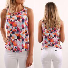 Women Ladies Summer Vest Top Sleeveless Shirt Blouse Casual Tank Tops T-Shirt US