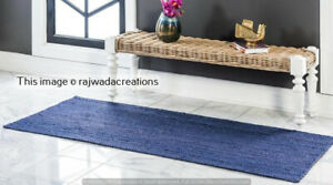 Braided Jute Blue Dye Rectangle Runner Rug Living Room Runner Rug