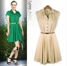 Chiffon Solid Dresses for Women with Pleated