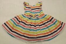 TODDLER GIRL 9m - 12m COLOURFUL STRIPED 100% COTTON PARTY SUMMER DRESS