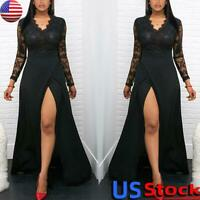 Sexy Ladies V-Neck Evening Party Maxi Dress Women Lace Long Sleeve Split Gown US