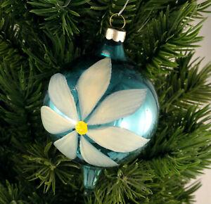 USA Pointed Ball Glass Christmas Ornament Medium Blue W Handpainted White Flower