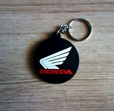 HONDA wing Logo Keychain Keyring Black Circle Rubber Motorcycle Car Gift New