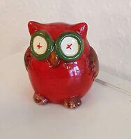 rote Eule / Uhu / Tier Figur / Deko aus Keramik