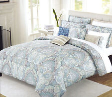 Nicole Miller 3 pc Duvet Cover Set Full Queen Paisley Dusty Blue Seafoam - New