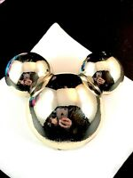 INCREDIBLE SIGNED DISNEY GLOSSY SILVER-TONE FINISH MICKEY MOUSE EARS BROOCH