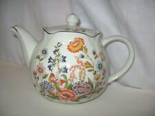 Vintage PORCELAIN TEA POT 1989 FLOWERS by Robinson Design Group Japan Gold Trim