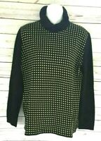 Vtg Mondi sweater size 42 Germany US 10 Heavy black yellow wool blend pullover