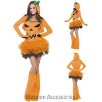 CL582 Ladies Pumpkin Tutu Fever Fancy Dress Up Party Halloween Costume Outfit