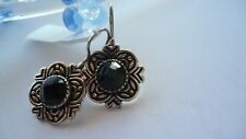 GENUINE SOLID 925 STERLING SILVER VINTAGE STYLE BLACK ONYX EARRINGS