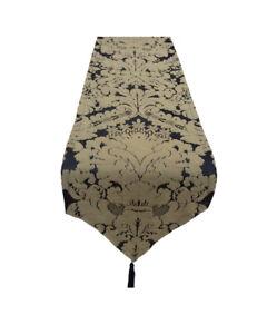 "75"" Black/Antique Gold Silk Damask table runner pointed and tassels Handmade UK"