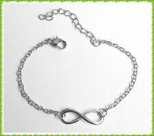 Feines Infinity Armband m Unendlichkeit Symbol - Länge 16 - 21 cm - Silberfarben