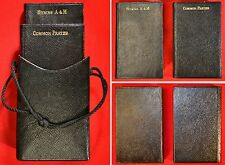 1914 PAIR LEATHER COMMON PRAYER & HYMNS - IN ORIGINAL CARRYING CASE GILDED FINE!