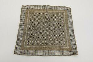 NWT Brunello Cucinelli Mens 100% Silk Geometric Pocket Sq W/Plaid Bordering A191