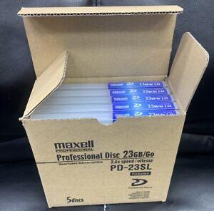 5 TOTAL Maxell PD23SL XDCAM HD PROFESSIONAL DISC 23GB 2.4X REWRITABLE sony NEW