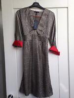 BNWT WOMENS TOMMY HILFIGER BLACK WHITE RED SILK DRESS ROCKABILLY POLKA DOT US 6