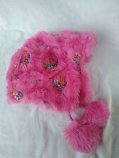Childrens Pink Furry Fleece Lined Hat W/ Ear Flaps Pom Poms And Sequined Hearts
